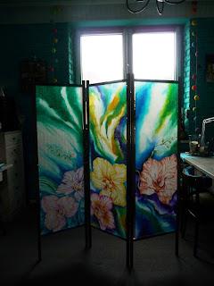 parawan jedwabny , trzy ścianki , ręcznie malowany jedwab , orchidee