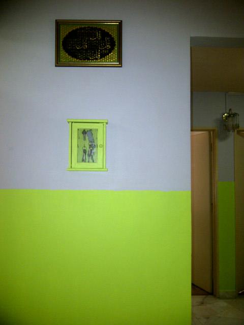 Ruang Tamu Aku Tempat Letak Kunci Pun Cat Warna Epal Hijau Haha