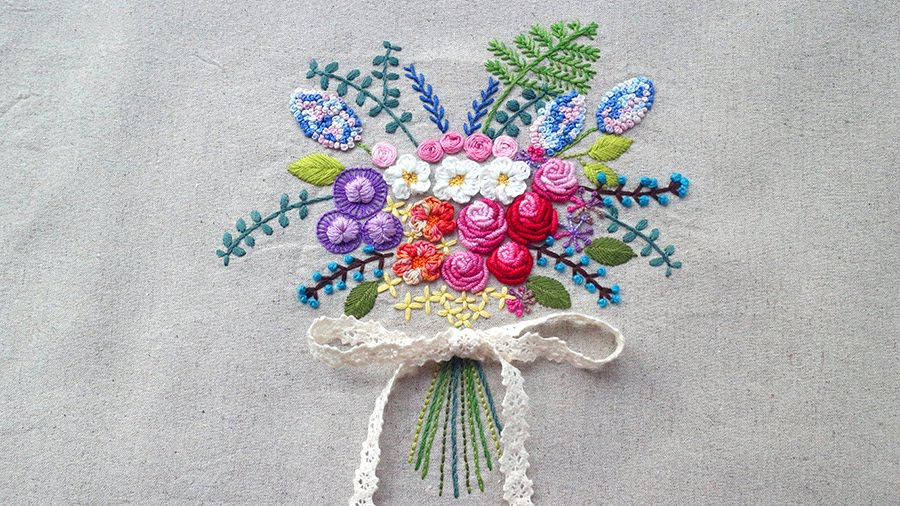 Flower Bouquet Embroidery 2 Bullion Knot Stitch Rose