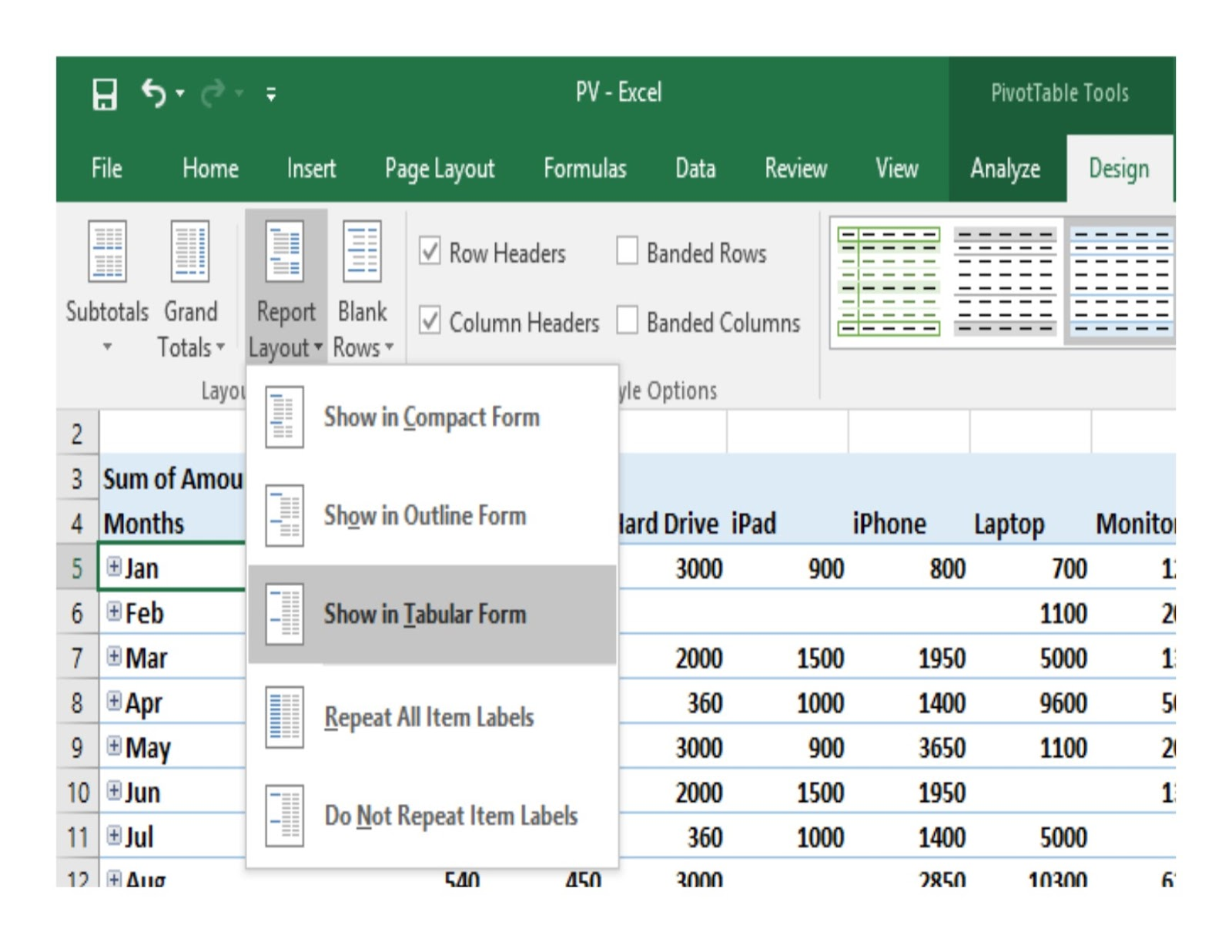 Excel micro office for Tabular table