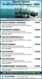 Urgently required for EPC contracting company in Oman text image