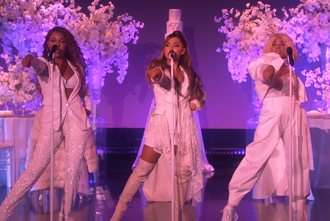 "Ariana Grande, Talya Parx and Victoria Monét perform ""Thank U, next"" on Ellen 