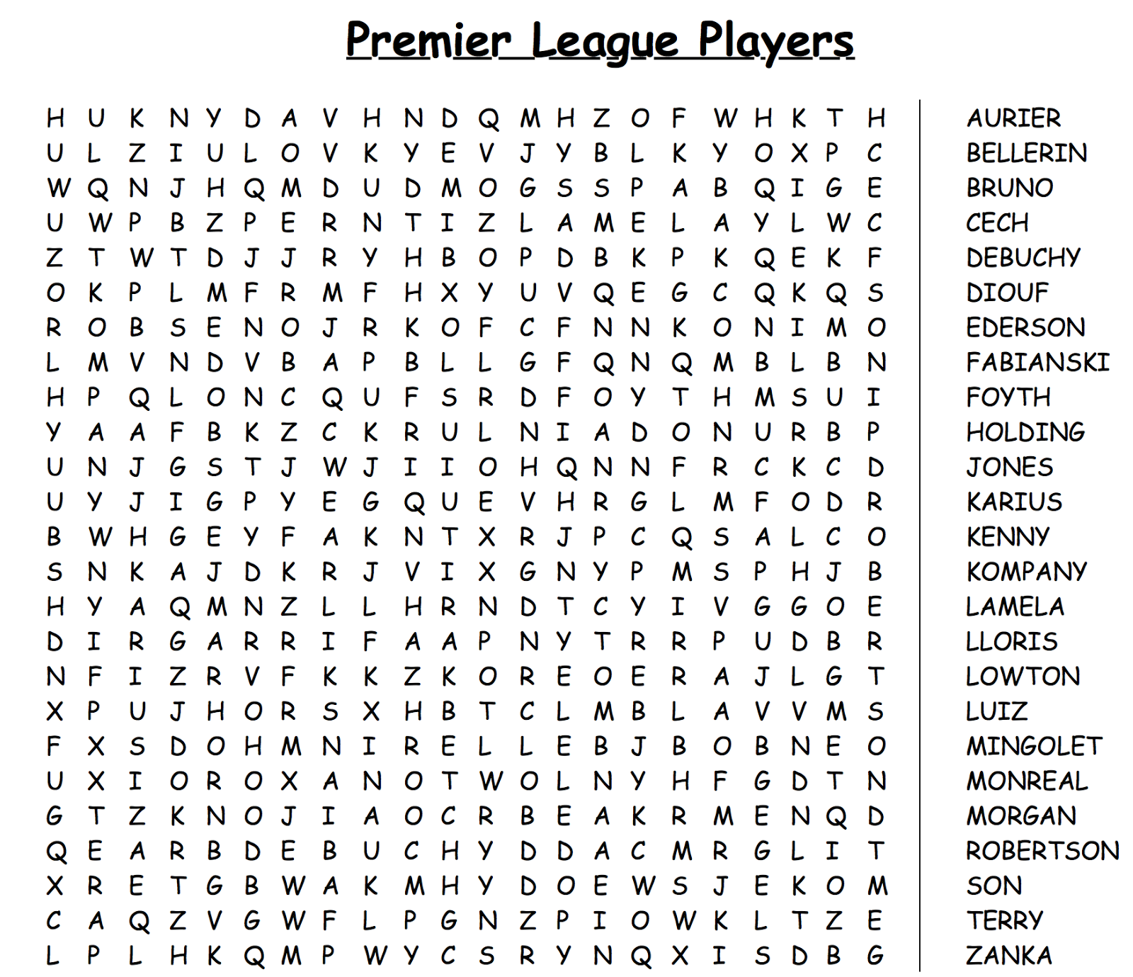 Football Quizzes Word Search 2