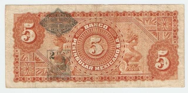 Billetes Mexicanos Billete de 5 Pesos Banco Peninsular Mexicano