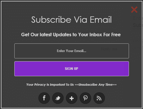Onclick popup email subscribe form for blogger