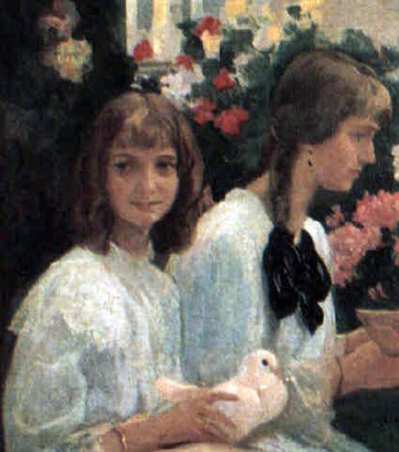 Niñas en el jardín, Victor Moya Calvo, Pintor español, Pintores Valencianos, Retratos de Victor Moya Calvo, Pintores españoles