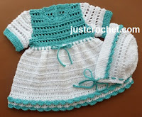 Crochet Cotton Dress and Bonnet