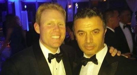 Albanian actor Marko Caka at the wedding of the son of the New York City mayor