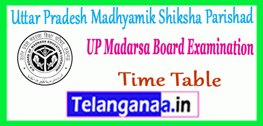 Uttar Pradesh Madarsa Board Exam Time Table