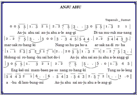 Not Angka Lagu Anju Ahu - Lagu Daerah Tapanuli