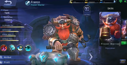 Gambar Franco (Frozen Warrior) di mobil legend