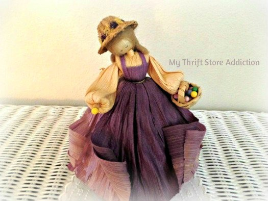 Friday's Find: Collectible Corn Husk Dolls mythriftstoreaddiction.blogspot.com Vintage Nan's Lady in Purple with Easter Basket