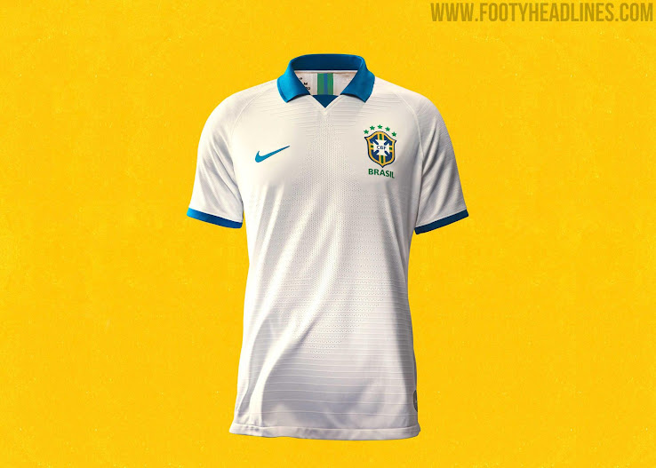 ab078837e Blue shorts and navy socks with a white-blue-white turnover complete the  Brazil 2019 Copa America 100th Anniversary kit.