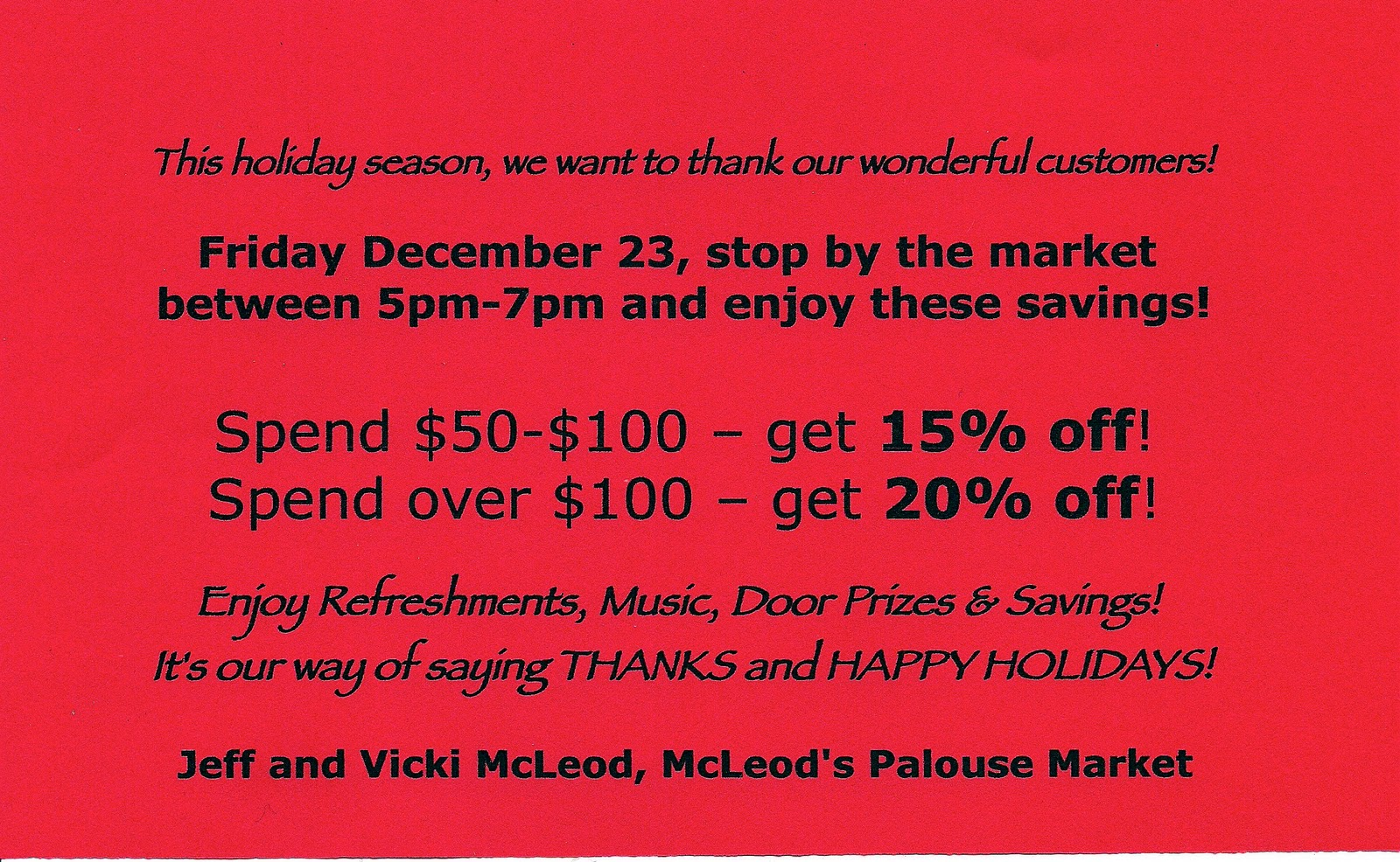 Happy Holidays And Thanks To All >> Mcleod S Palouse Market Thanks And Happy Holidays