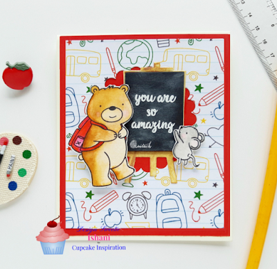 Zig clean colour brush pens, Neat and tangled, paper smooches, Craftangles, Card for teacher, cards by Ishani, Zig colouring, card for teachers, paper smooches eael die, neat and tangled school house stamp, sunny studio stamp, back to school card, school card, quillish