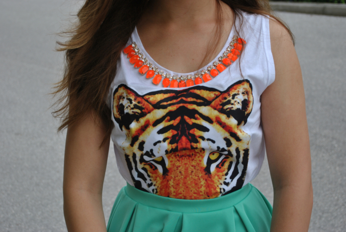choies tiger print tank, jewel trim, swaychic skater skirt, mint, fossil watch, bamboo sandals