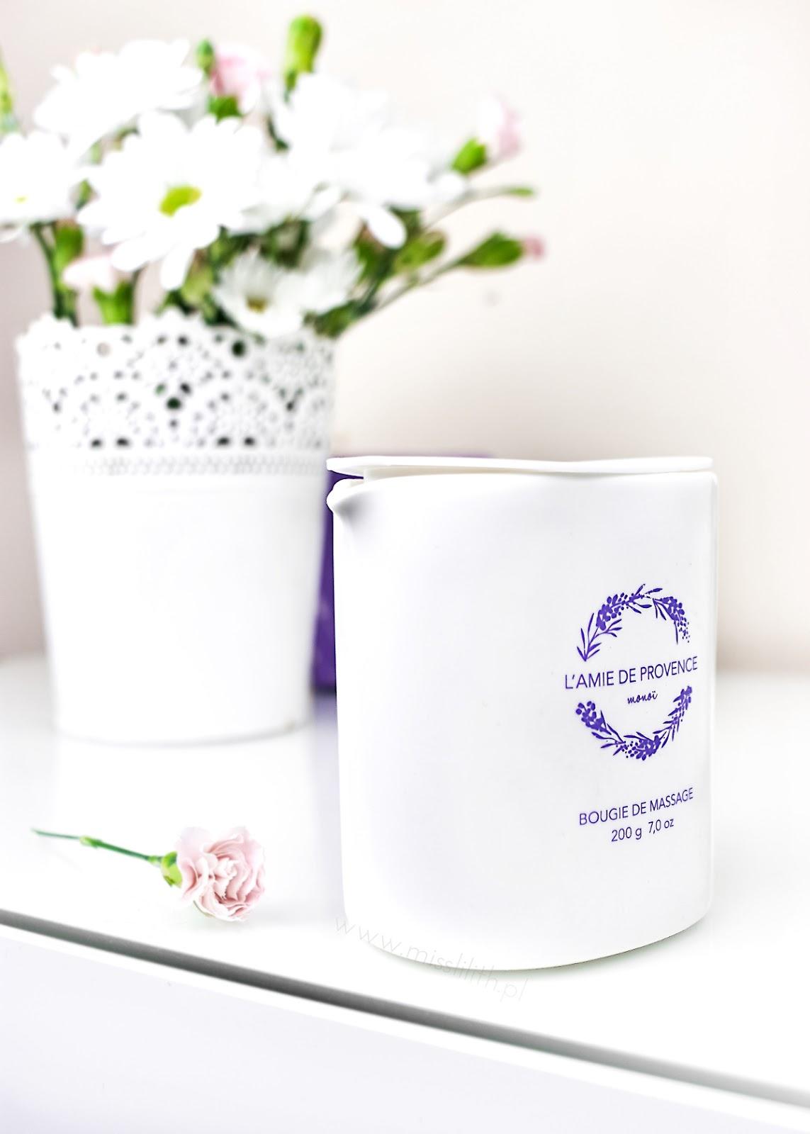 L'amie de Provance - Świeca do masażu o zapachu kwiatu monoi blog opinie
