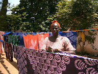 Awa Fall with fabric produced during the training.