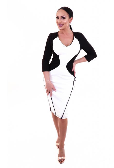 Rochie office stil bodycon model in doua culori  alba cu negru ieftina