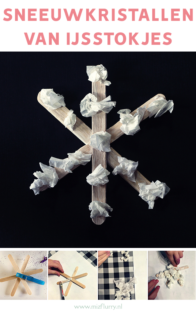 sneeuwkristallen knutselen ijstokjes pinterest