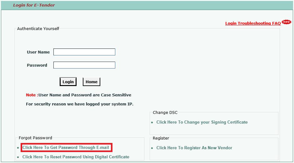 IREPS e-Tender : How to change/reset login password on IREPS