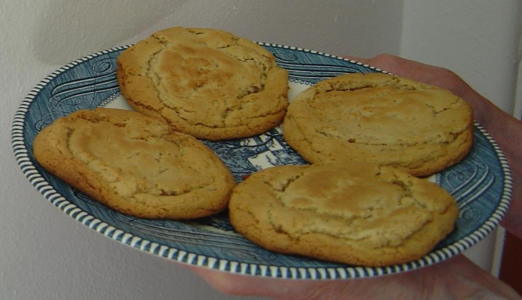 Plate of Gooey-Centered Peanut Butter Whopper Cookies