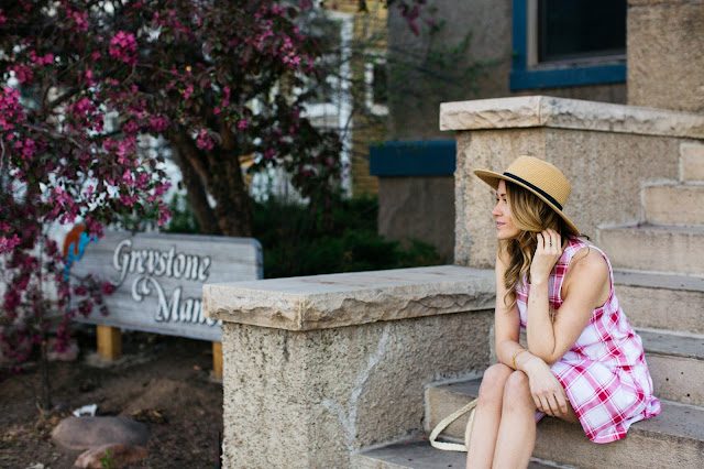 Red Check Dress With Boater Hat