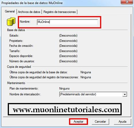 Creando la base de datos MuOnline