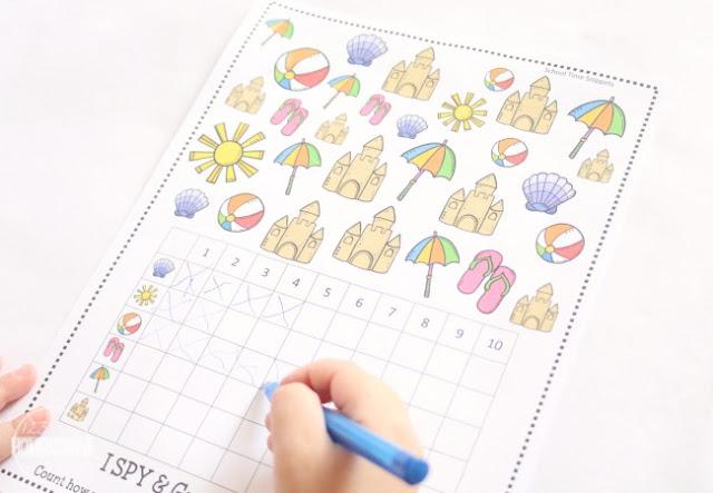 summer math game for preschool, prek, kindergarten, first grade