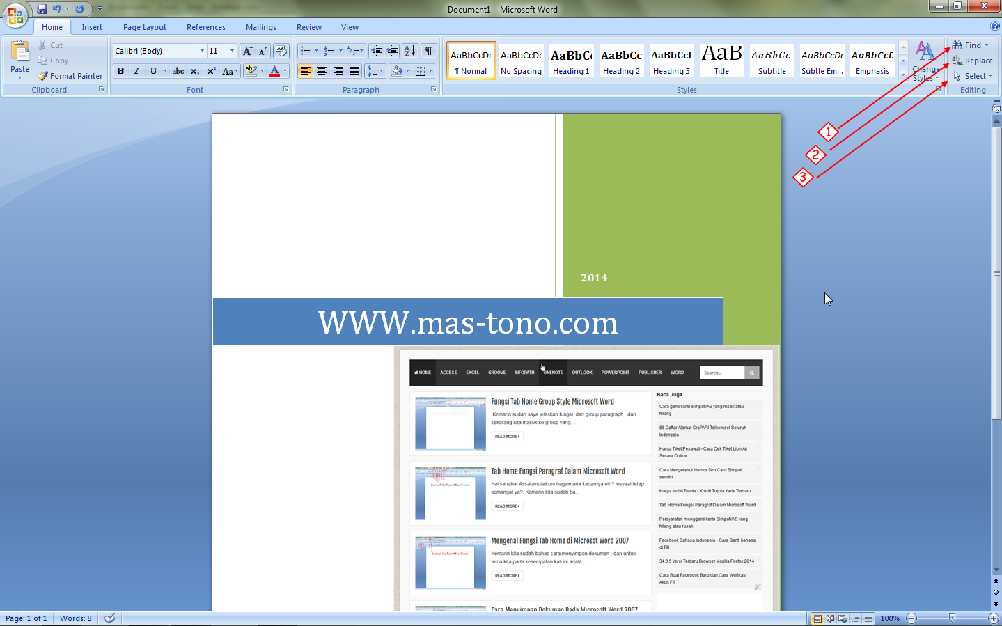 Mengenal 3 Icon Tab Home Group Editing di Microsoft Word 2007