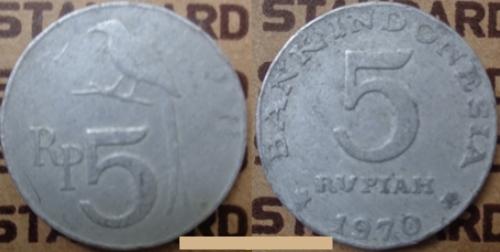 Koin Uang Kuno Logam 5 Rupiah Emisi Tahun 1970