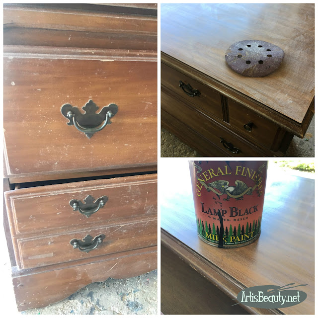 Vintage maple dresser turned romantic vintage Floral using Redesign by prima color transfers and general finishes lamp black milk paint