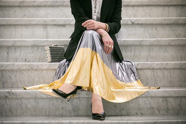 Metallic Skirt-New Year's Eve-Hijab-Baltimore-NYE-Modest Fashion-M.Gemi rivista