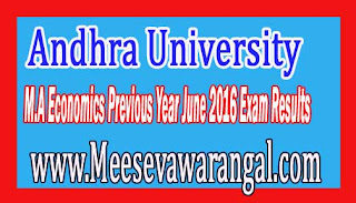 Andhra University M.A Economics Previous Year June 2016 Exam Results