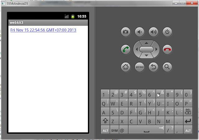 Membuat Aplikasi Android Webkit Tampilkan Jam Sistem - Pada aplikasi webkit ini kita akan membuat aplikasi android yang bisa memunculkan jam sistem pada browser kita  menggunakan salah satu fungsi yang ada di webkit yaitu loadDataWithBaseUrl.