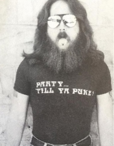 'PARTY... TILL YA PUKE!' T-shirt worn by Outlaw Biker / Party Animal. PYGear.com