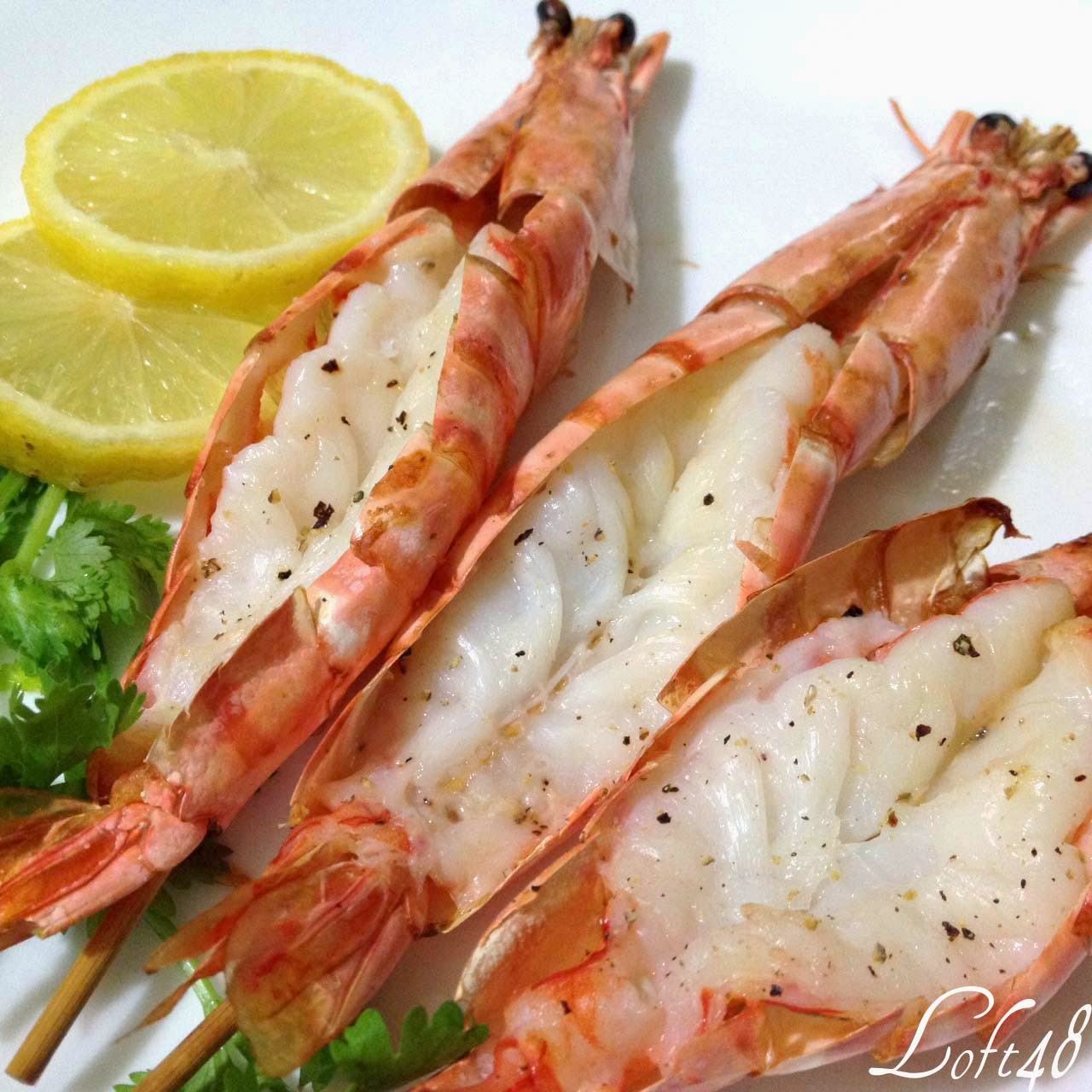 Loft48 grilled prawns served with garlic cream sauce air for Airfryer recipes fish