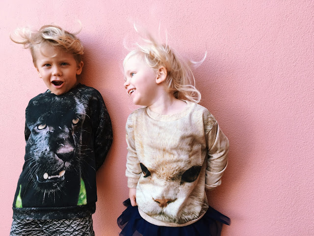 Popupshop kids Panther sweatshirt and White Cat Sweat