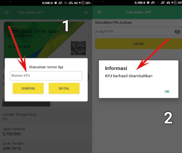 Kolom isian untuk tambah KPJ dan notifikasi KPJ berhasil di tambahkan