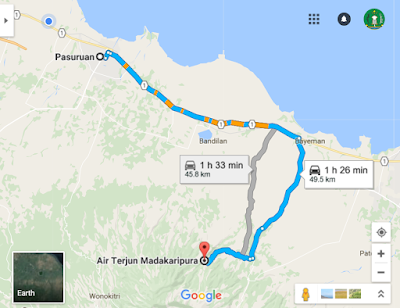 Rute perjalanan ke Madakaripura