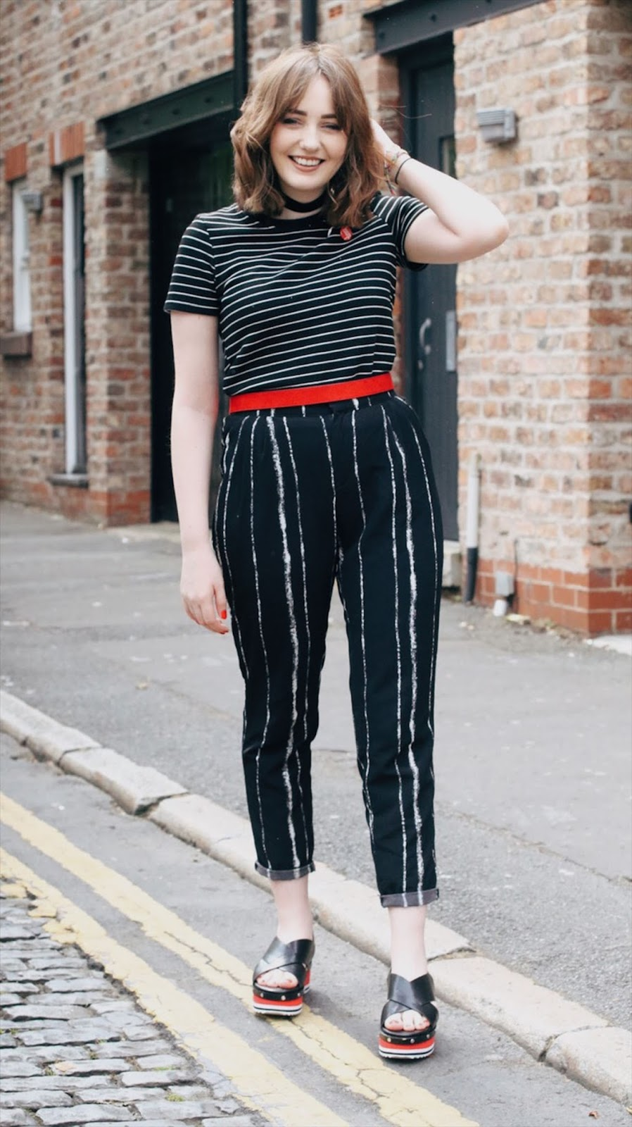 Zara platform sandals, striped t-shirt and trousers: Liverpool fashion blog outfit