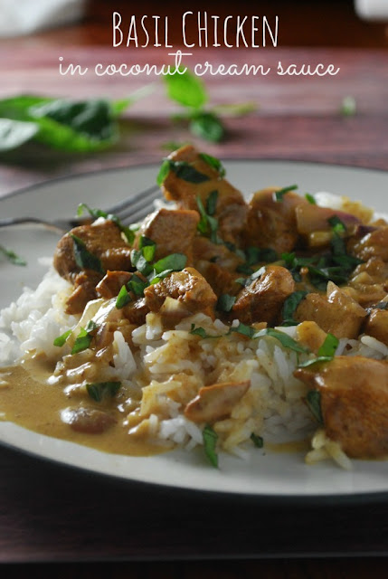 Tender chicken cooked in a lovely coconut cream sauce and topped with fresh basil! So amazing!!!