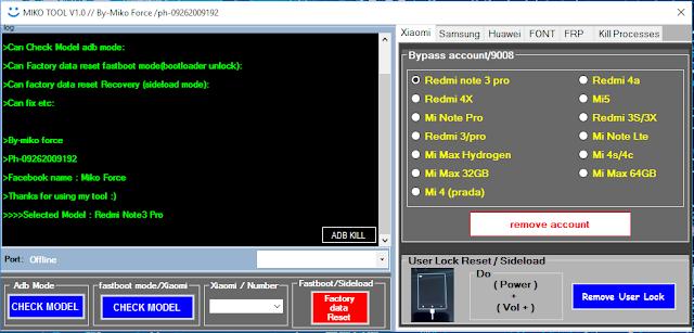 Miko Tool Crack V1.0 Unlock Samsung , Mi Account Reset.