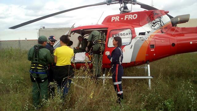 Em Delmiro Gouveia, Helicóptero Falcão 05 realiza  transferência de idoso que estava internado na UPA  para Maceió