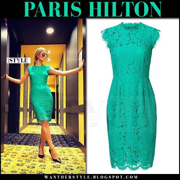 Paris Hilton in green lace sleeveless dress rachel zoe suzette and black pumps tom ford what she wore
