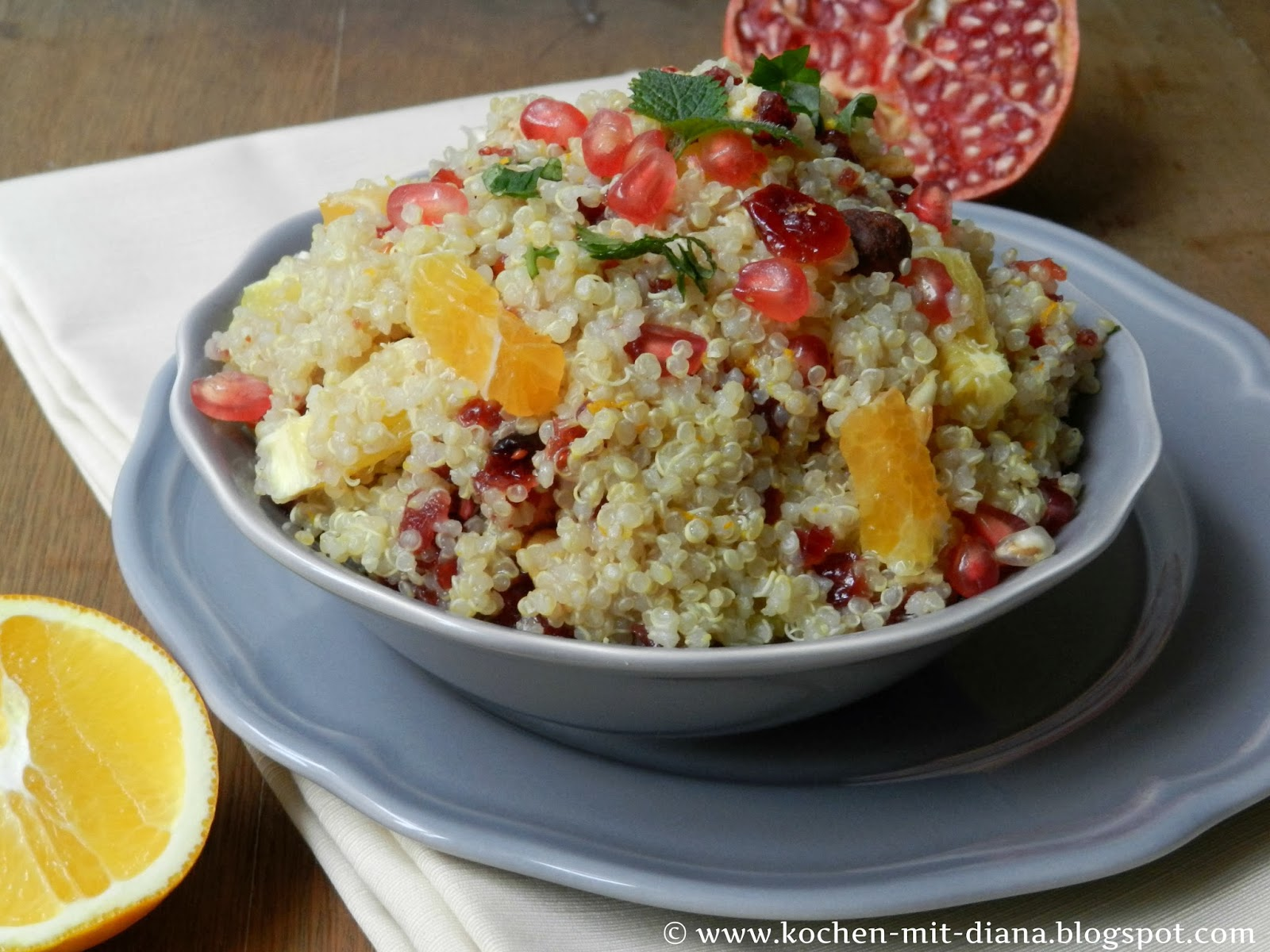 quinoa salat mit preiselbeeren und orangen kochen mit diana. Black Bedroom Furniture Sets. Home Design Ideas