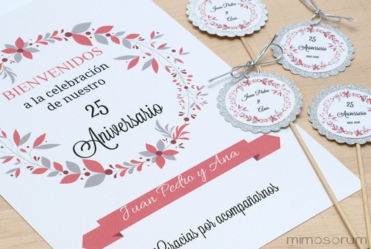 Ideas 25 Aniversario de Boda - 25th Wedding Anniversary Party Ideas