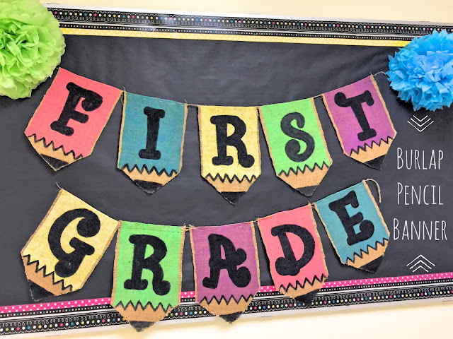 First Grade Burlap Pencil Bulletin Board
