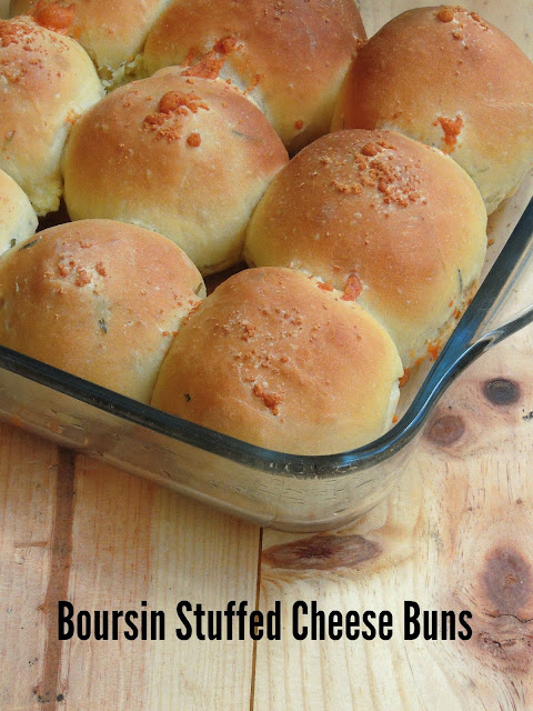 Boursin stuffed triple cheese buns