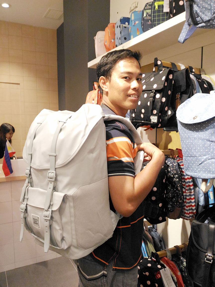 e341d92563 A water resistant Herschel backpack modeled by Iloilo Today s Nonoy Taclino